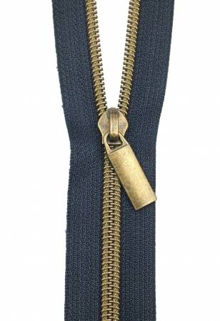 3 Yards Zipper - Navy Tape - Antique