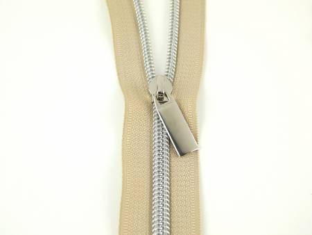 ZBY5C21 Zippers By The Yard Beige Tape Nickel Teeth #5