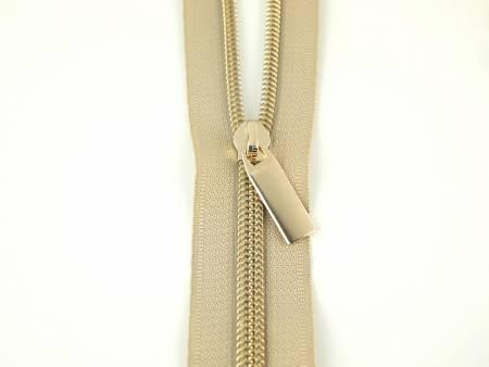 Zipper 3 Yards - Beige/Gold