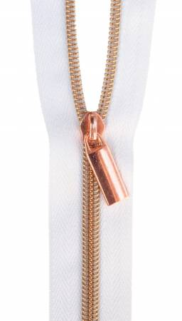 Zippers By The Yard White Tape Copper Teeth #5