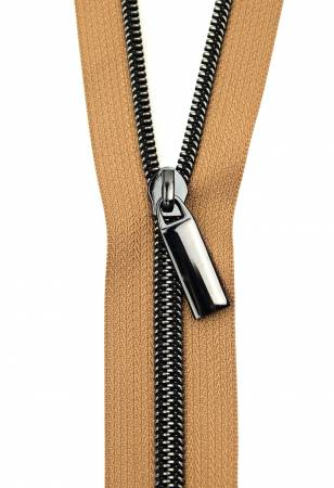 Zippers By The Yard Natural Tape Gunmetal Teeth #5