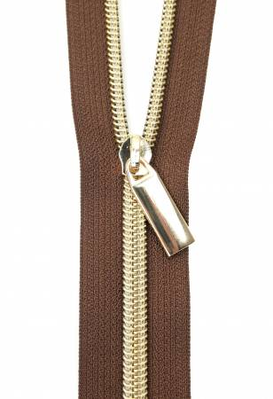 Zippers By The Yard Brown Tape Gold Teeth #5