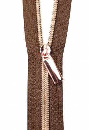 3 Yard Zipper - Brown Tape - Copper