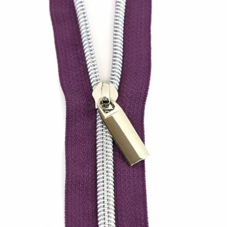 #5 Zippers by the Yard Purple Tape Nickel Coil