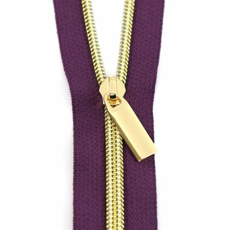 #5 Zippers by the Yard Purple Tape Gold Coil