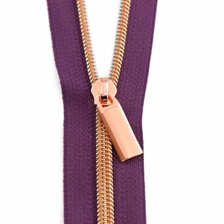 Zipper/3 Yard Purple Tape Rose Gold coil