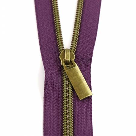 #5 Zippers by the Yard Purple Tape Antique Coil