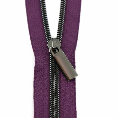 Sally Tomato - #5 Zippers by the Yard Purple Tape Gunmetal Coil