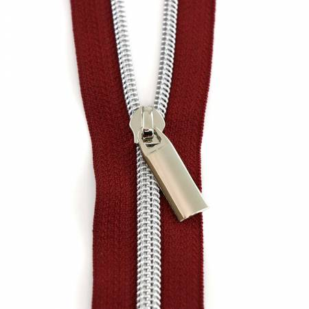 #5 Zippers by the Yard Burgundy Tape Nickel Coil