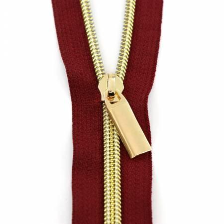Zipper 3 Yards - Burgundy/Gold