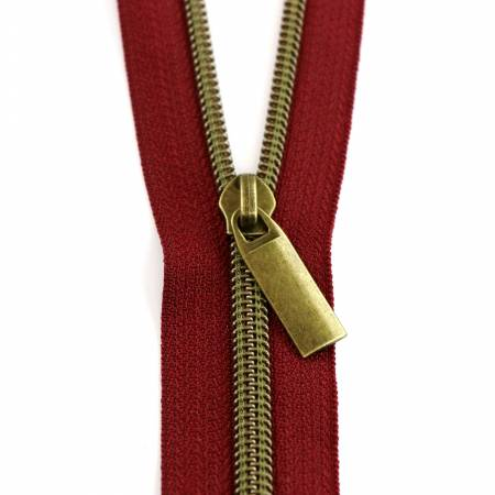 #5 Zippers by the Yard Burgundy Tape Antique Coil