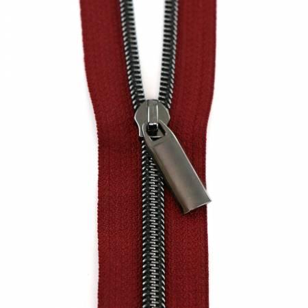 3 Yards Zipper - Burgundy Tape - Gunmetal