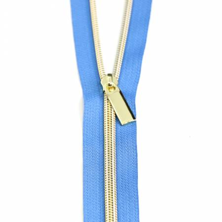 Zippers by the Yard Blue Jean Gold