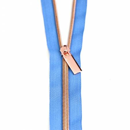 Zippers by the Yard Blue Jean Rose Gold