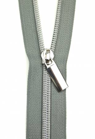 Zippers By The Yard Grey Tape Nickel Teeth #5