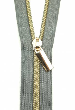 Zippers By The Yard Grey Tape Light Gold Teeth #5