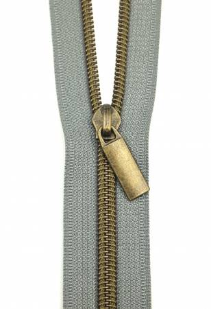 Zippers By The Yard Grey Tape Antique Teeth #5