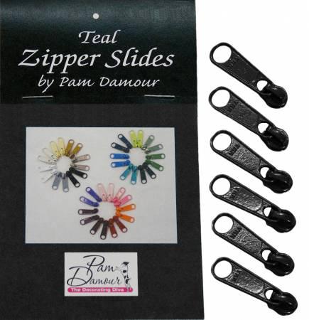 6 Large Tab Zipper Slides Black