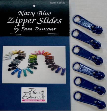 6 Large Tab Zipper Slides Navy