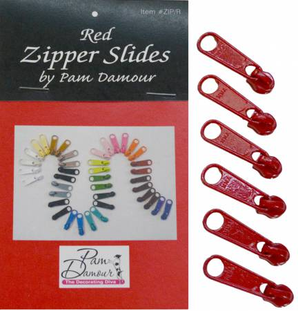 6 Large Tab Zipper Slides Red