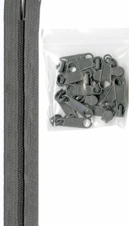 Zippers, Pewter, 4 yards of 16mm #4.5 zipper chain and 16 Extra-Large Coordinated Pulls