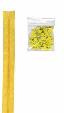 4 yards of 16mm #4.5 zipper chain and 16 Extra-Large Coordinated Pulls Dandelion