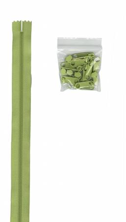 4 yards of 16mm #4.5 zipper chain and 16 X-Large Coordinated Pulls Chartreuse