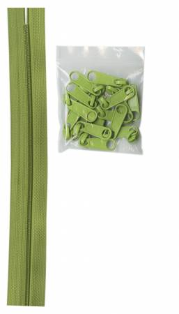 Zippers by the Yard Apple Green