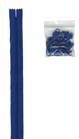 4 yards of 16mm #4.5 zipper chain and 16 Extra-Large Coordinated Pulls Bl Blue