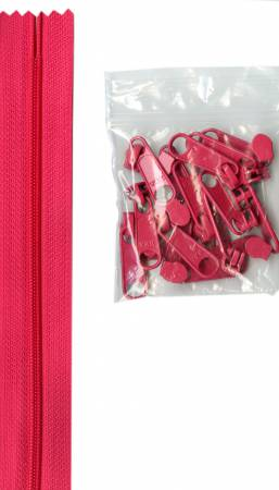4 yards of 16mm #4.5 zipper chain and 16 Extra-Large Coordinated Pulls Lipstick