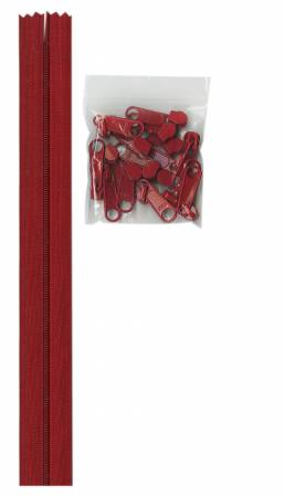 4 yards of 16mm #4.5 zipper chain and 16 Extra-Large Coordinated Pulls Hot Red