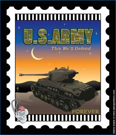 Us Army Mini Stamp 6 in x 7 in