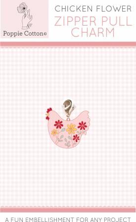 Zipper Pull Charm Chicken Flower