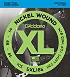 D'Addario EXL165 Nickel Wound Bass Guitar Strings, Custom Light, 45-105 Long Sca...
