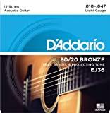 D'Addario EJ36 12-String Bronze Acoustic Guitar Strings Light, 10-47