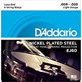 D'Addario EJ60 5-String Banjo Strings, Nickel Light, 9-20