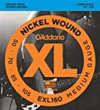 D'Addario EXL160 Nickel Wound Bass Guitar Strings, Medium, 50-105 Long Scale