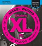 D'Addario EXL170-5 5-String Nickel Wound Bass Guitar Strings Light, 45-130 Long ...