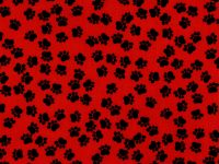 Timeless Treasure Prints Mini Dogpaws Allover Red w/black paws
