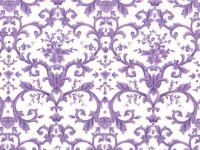 Purple Flowers/Leaves on White Background