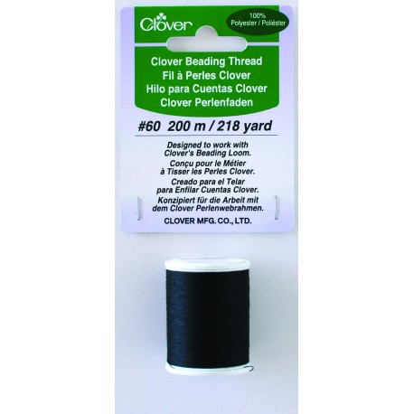 BEADING THREAD BLACK POLYESTER 9917  60 WEIGHT 218 Yards  Clover