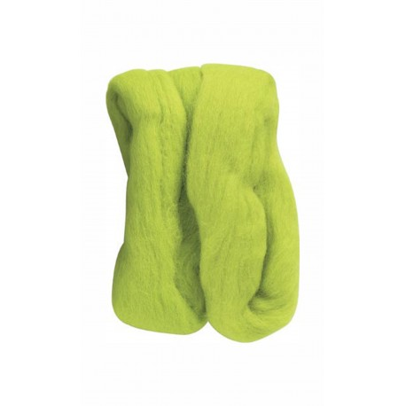 Natural Wool Roving - Lime Green - 20g