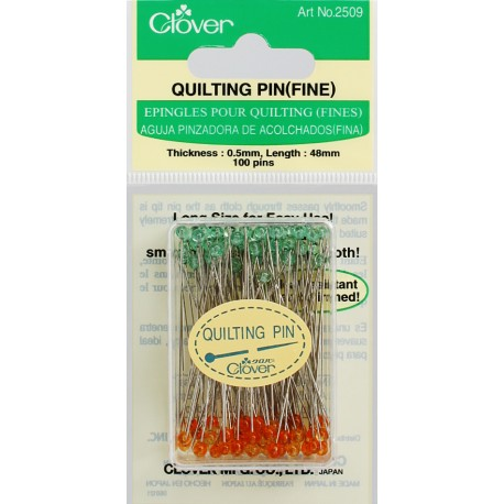 Clover Quilting Glass Head Pins Fine 100ct CLO2509