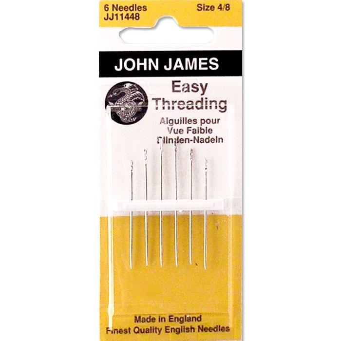 John James Hand Needles Self/Easy Threading Assorted Sizes (4 through 8) - 6 ct