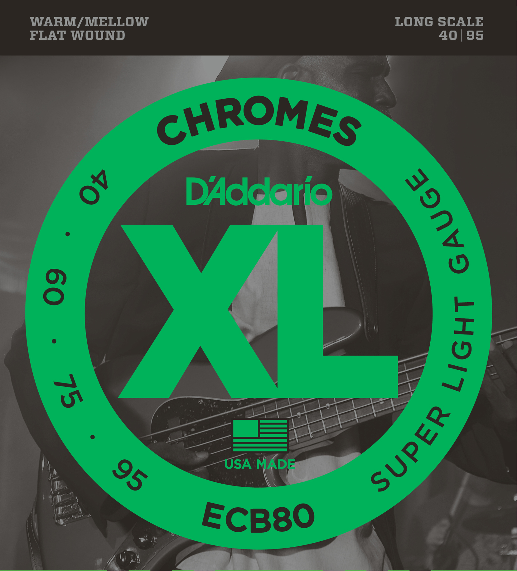 D'Addario ECB80 Bass Guitar Strings Light 40-95 Long Scale