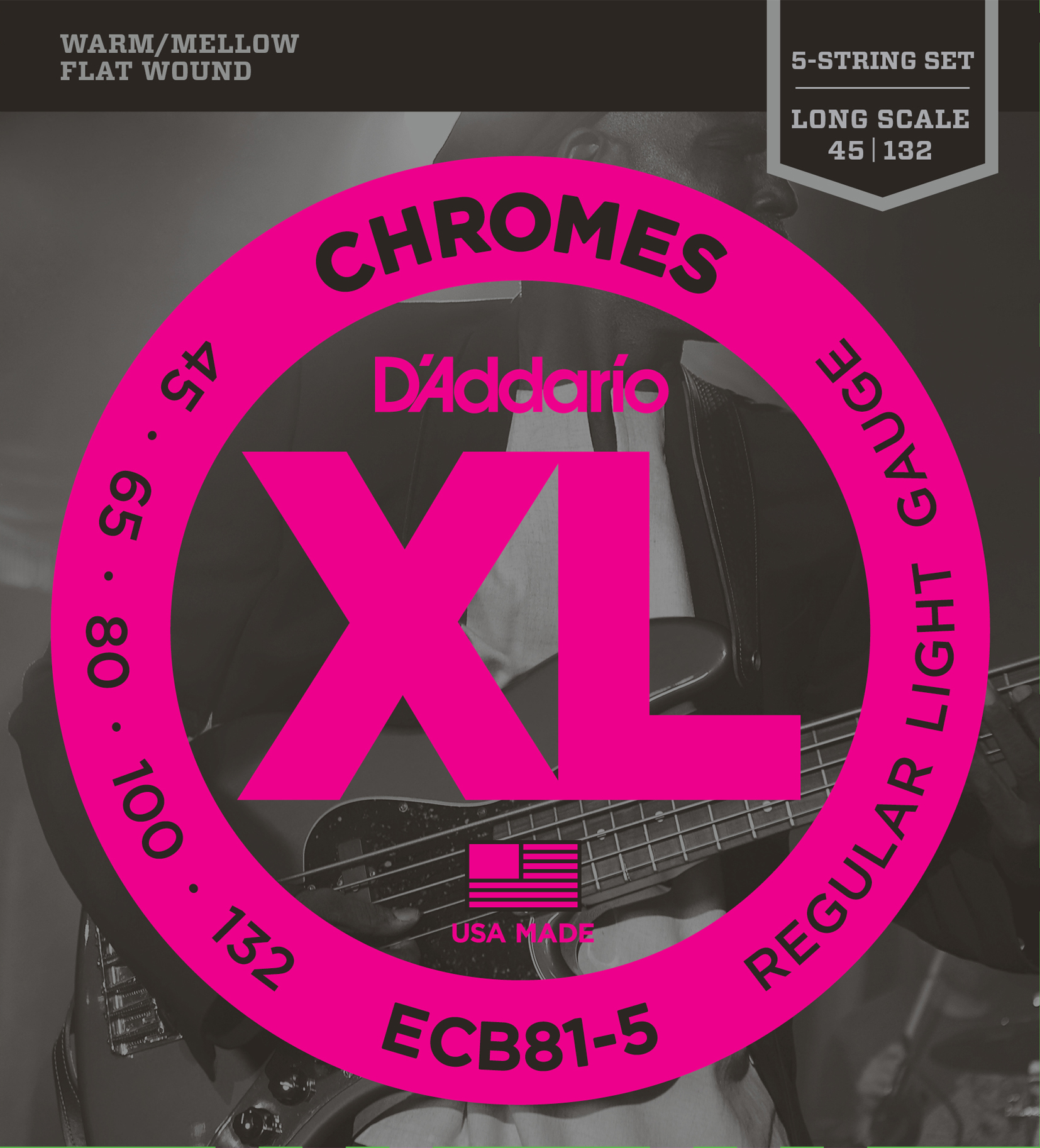 D'Addario Chromes ECB81-5 5 String Electric Bass Stringset