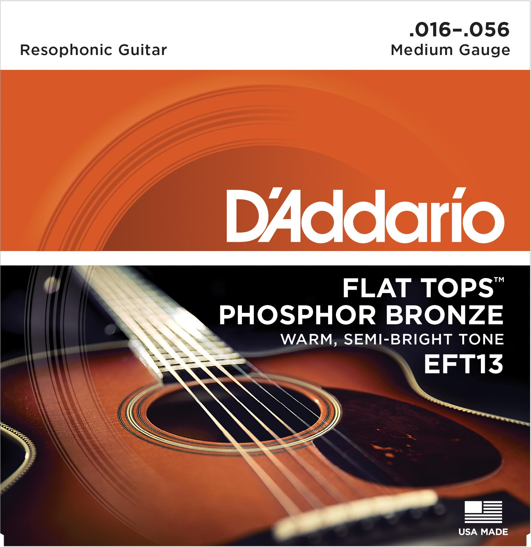 D'Addario EFT13 Flat Tops Phosphor Bronze Acoustic Guitar Strings, Resophonic Gu...