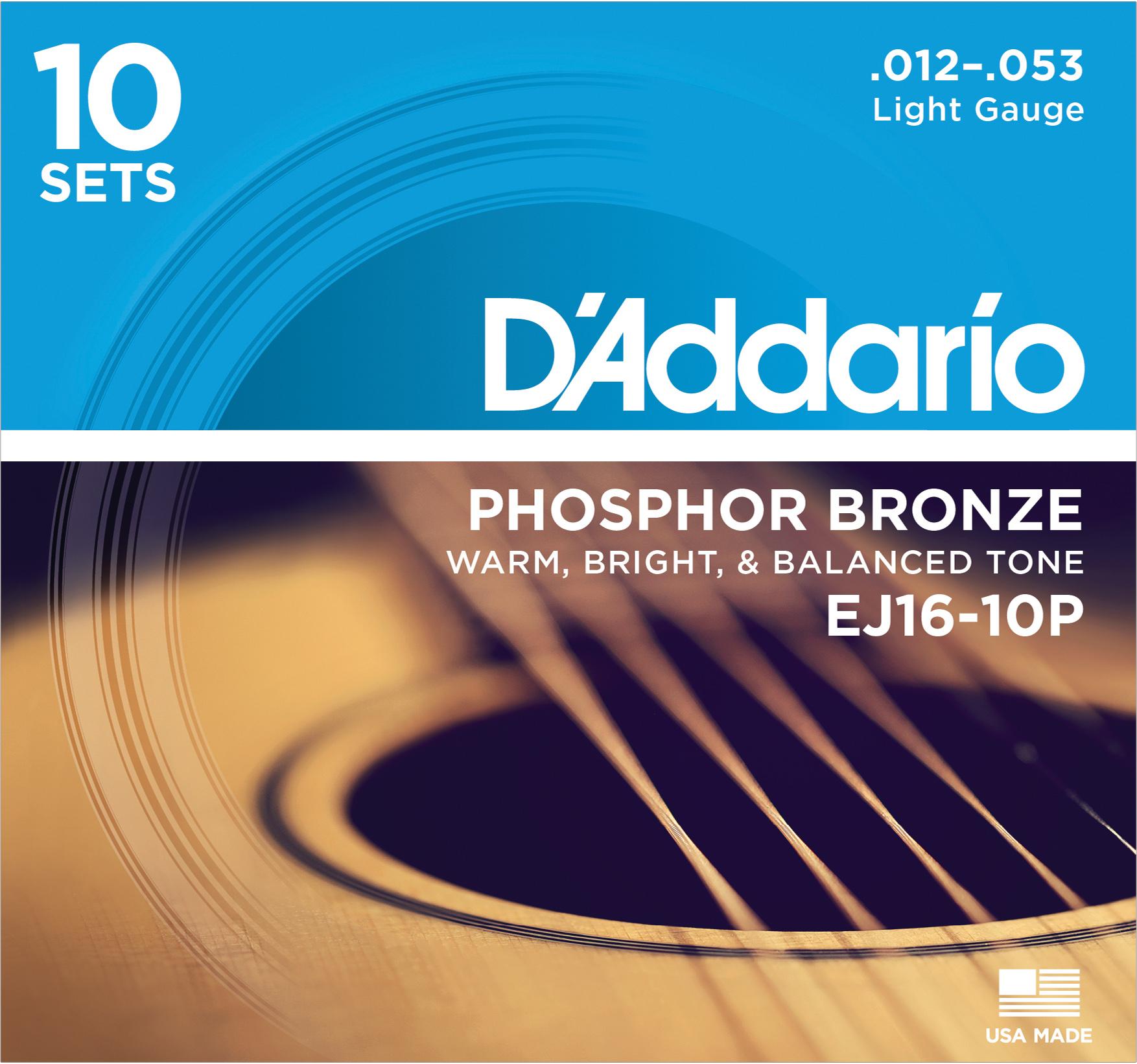 D'ADDARIO EJ16-10P PROPACK PHOS BRONZE LIGHT