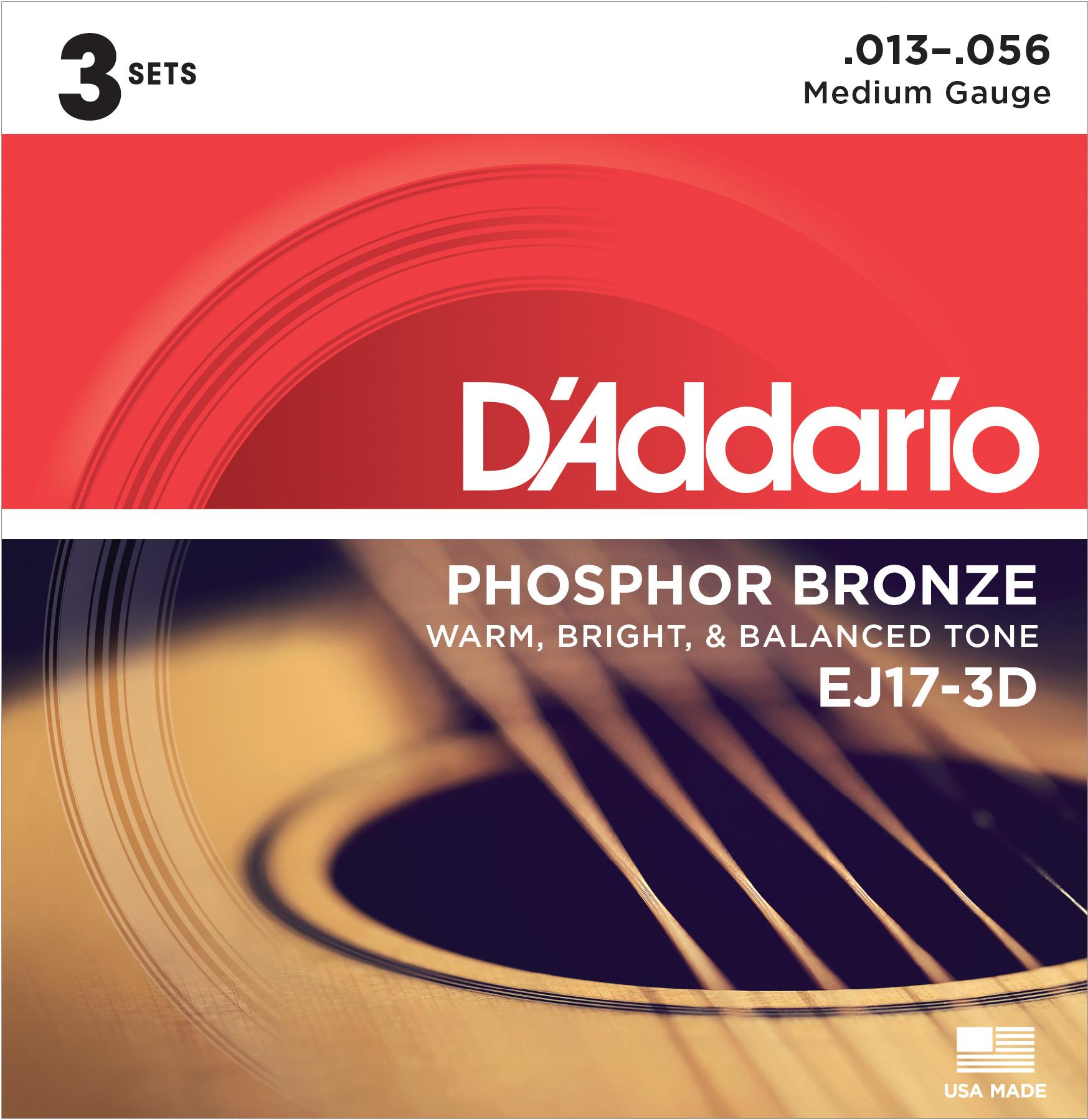 D'Addario EJ17-3D Phosphor Bronze Acoustic Guitar Strings, Medium, 13-56, 3 Sets