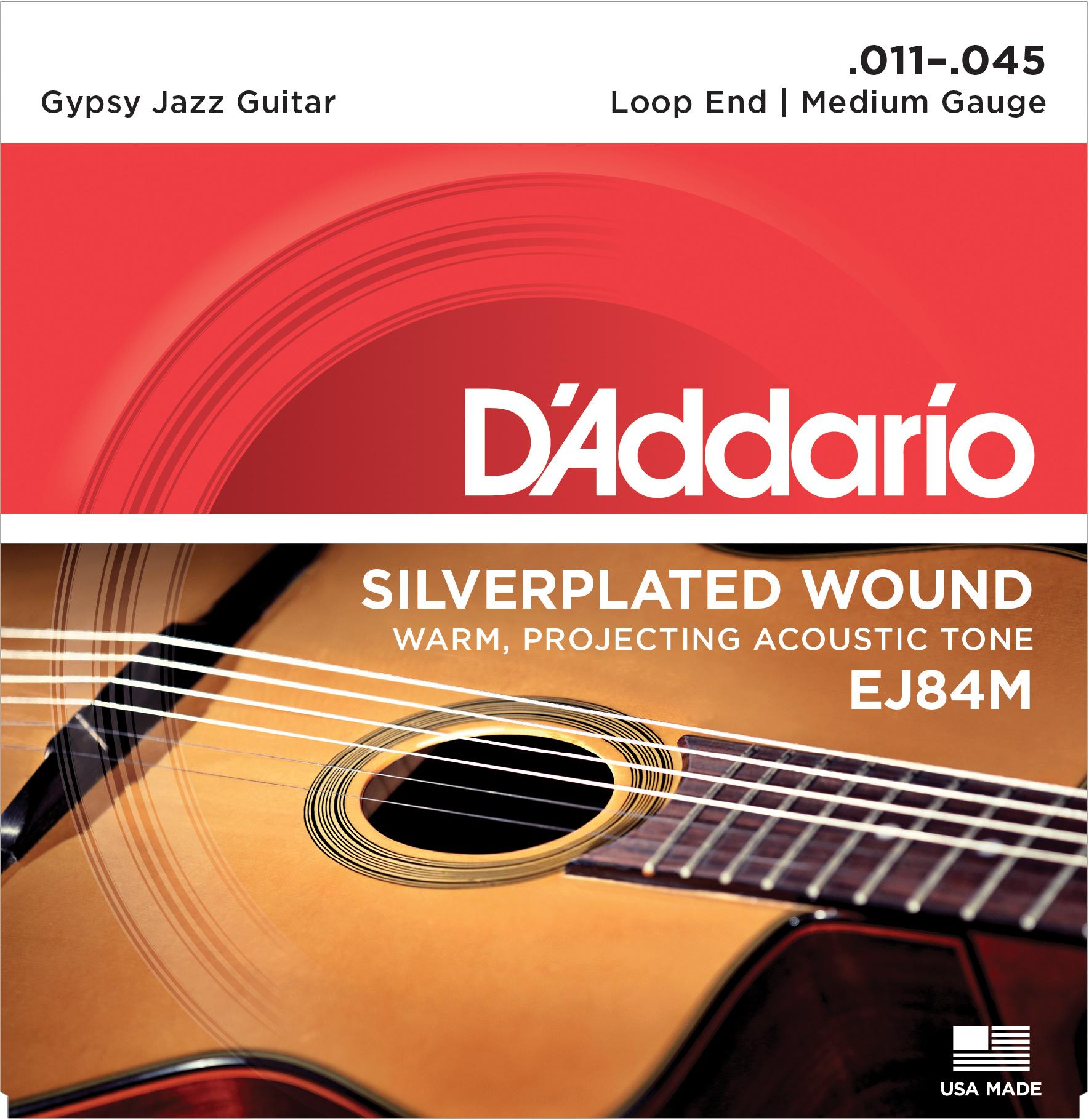 D'Addario EJ84M Gypsy Jazz Acoustic Guitar Strings Loop End, Medium, 11-45